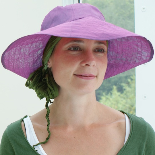 mauve summer hat with pink hair loss bandana worn underneath