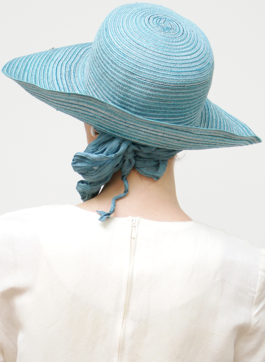 Turquoise summer sun hat with big brim back view