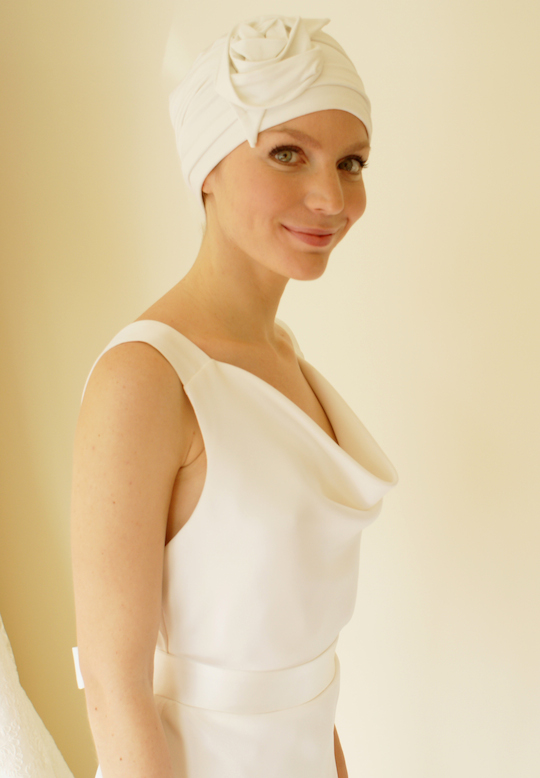 Ivory Selina wedding turban worn with ivory wedding dress