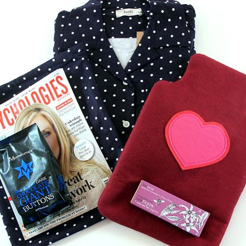 magazine hot water bottle and pyjamas gift set