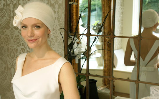 Cream bridal turban worn by young bride with cancer hair loss