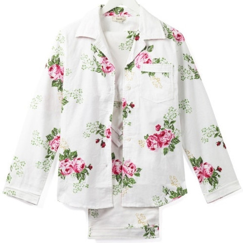 white female pyjamas with pink floral print