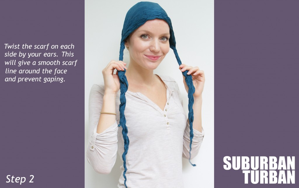 green silk square scarf turban tying guide for female hair loss step 2