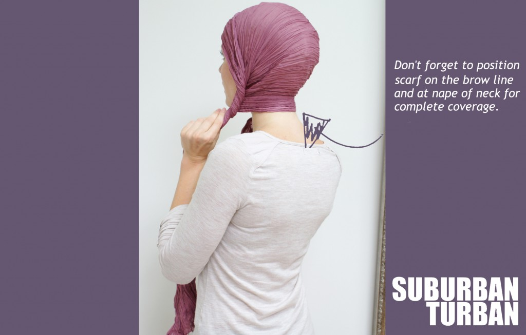 How to tie a turban for female hair loss - back view
