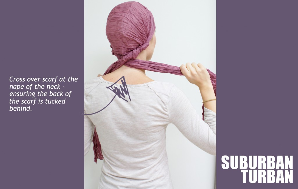 How to tie a turban for female hair loss - step 3