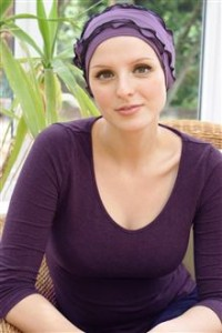 Mauve and blue turban made in soft jersey for chemo hair loss