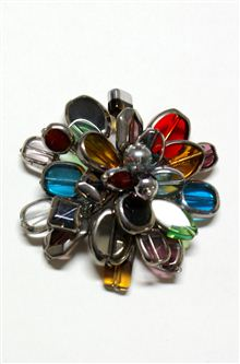 Multi-coloured glass bead brooch pin