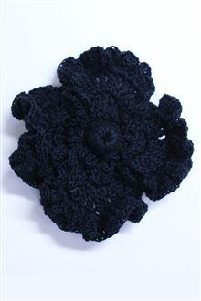 Black crocheted poppy brooch pin